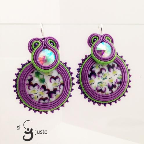 Soutache earrings with pancy flowers (0158)