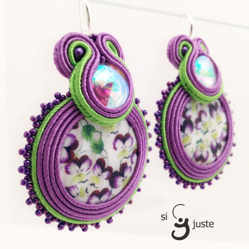 Purple flowers soutache earrings