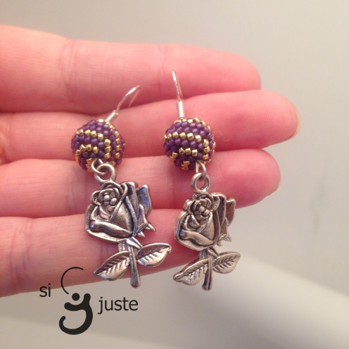 beaded ball earrings with roses